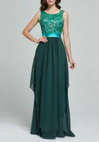 Robe longue dentelle patchwork mousseline plissée de soirée pour mariage élégant vert