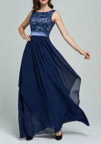 Navy Blau Rundhals Ärmellos Spitze Splicing Unregelmäßige Chiffon Hohe Taille Maxi Kleid Ballkleid