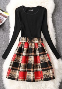 Black Floral Belt Zipper Round Neck Fashion Mini Dress