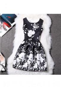 Black Floral Zipper Pleated Round Neck Mini Dress