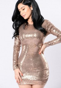Golden Sequin Round Neck Backless Bodycon Club Birthday Mini Dress