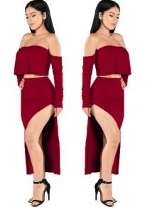 Wine Red Plain 2-in-1 Boat Neck Nylon Midi Dress