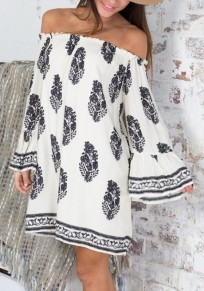 White Floral Leaves Print Boat Neck Off-shoulder Flare Sleeve Oversized Mini Dress
