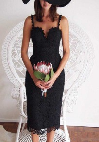 Black Patchwork Hollow-out Lace Zipper Sexy Maxi Dress