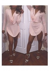 Pink Plain Irregular Draped Collar Long Sleeve Midi Dress