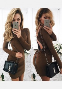 Brown Plain Zipper Round Neck Long Sleeve Mini Dress