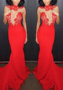 Red Patchwork Lace Round Neck Party Polyester Maxi Dress
