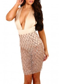 Champagne Patchwork Sequin Grenadine Sashes See-through Tie Back Club Mini Dress