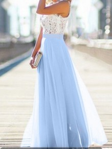 Light Blue Patchwork Lace Draped Flowy Beach Boutique Holiday Bridesmaid Party Tulle Maxi Dress