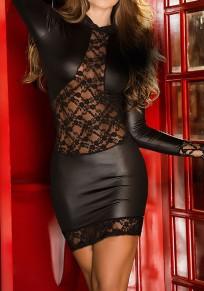 Mini vestido encaje A cielo abierto cuello redondo negro