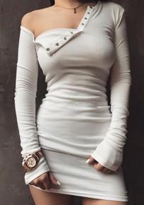 White Plain Front Buttons Off-shoulder Slim Bodycon Clubwear Mini Dress