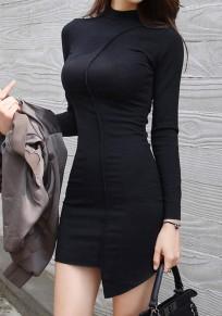 Mini-robe uni irrégulier manches longues sexy noir
