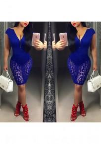 Blue Patchwork Zipper Hollow-out Plunging Neckline Midi Dress
