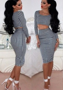 Black Plaid Crop Round Neck Long Sleeve Two Piece Elegant Bodycon Formal Midi Dress