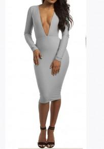 Grey Plain Plunging Neckline Long Sleeve Midi Dress