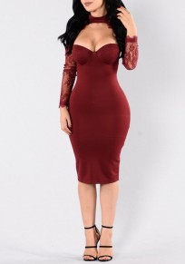 Red Patchwork Lace Hollow-out Cut Out See-through Halter Neck Bodycon Midi Dress