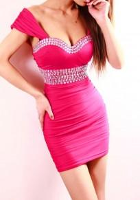 Rose Carmine Plain Rhinestone Backless Plunging Neckline Mini Dress