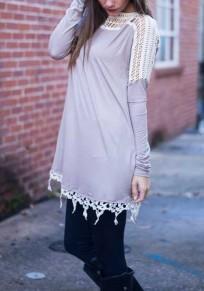 Mini vestido encaje A cielo abierto cuello redondo manga larga gris