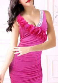 Rose Carmine Plain Rhinestone Ruffle V-neck Mini Dress