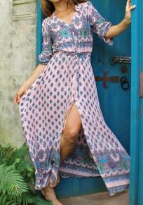 Multicolor Floral Print Single Breasted Sashes V-neck Slit Half Sleeve Maxi Dress
