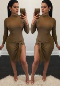 Brown Plain Side Silt High Neck Midi Dress