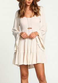 Beige Plain Draped Peplum Backless Round Neck Flare Sleeve Slim Mini Dress
