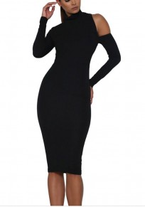 Black Plain Cut Out High Neck Midi Dress
