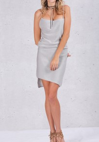 Grey Plain Condole Belt Round Neck Mini Dress