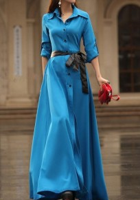 Blue Plain Belt Turndown Collar Elegant Cotton Blend Maxi Dress