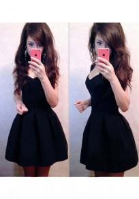 Mini robe uni plissé col rond de pur coton noir