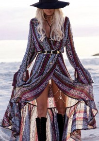 Purple Striped Floral Sashes Slit High-Low Bell Sleeve Deep V-neck Bohemian Country Maxi Dress