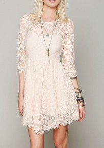 Beige Patchwork Hollow-out Lace Round Neck Mini Dress