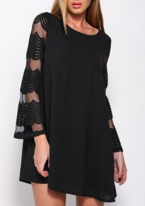 Black Patchwork Grenadin Hollow-out Flare Sleeve A-line Slim Chiffon Mini Dress