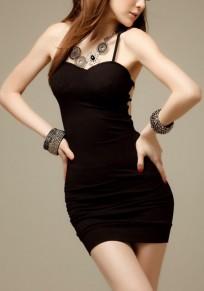 Mini robe dentelle sexy spandex sans col noir