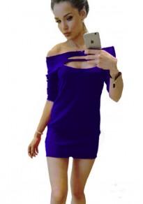 Mini-robe uni ouvert autour du cou sexy bleu