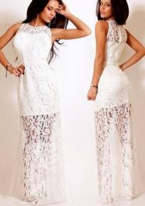 White Plain Sashes Round Neck Party Lace Maxi Dress