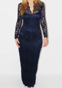 Dark Blue Patchwork Lace Hollow-out V-neck Elegant Maxi Dress