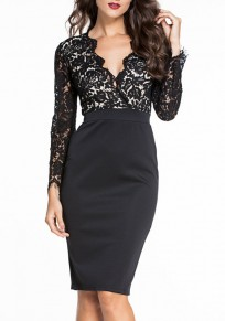 Black Patchwork Lace Hollow-out Plunging Neckline Midi Dress