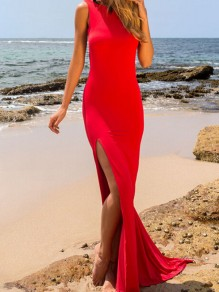 Red Plain Draped Side Slit Backless Prom Evening Party Maxi Dress