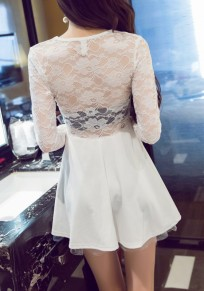 White Patchwork Hollow-out Lace V-neck Long Sleeve Mini Dress