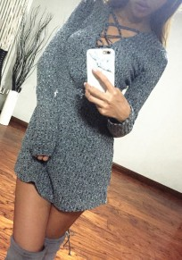 Grey Hollow-out Cross V-neck Long Sleeve Vintage Mini Dress