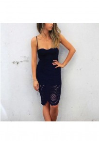 Black Patchwork Lace Collarless Sexy Cotton Midi Dress