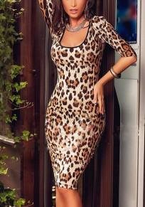 Yellow Leopard Rivet U-neck Elbow Sleeve Midi Dress
