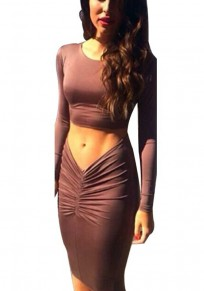 Brown Plain 2-in-1 Round Neck Long Sleeve Midi Dress