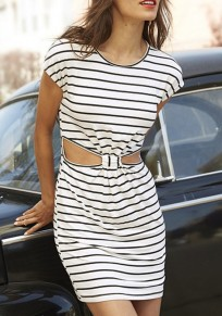 White-Black Striped Cut Out Round Neck Short Sleeve Casual Mini Dress
