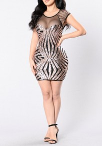 Golden Patchwork Sequin Grenadine Cap Sleeve See-through Clubwear Bodycon Mini Dress