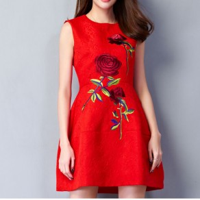 Red Patchwork Embroidery Sleeveless Sweet Cotton Blend Mini Dress