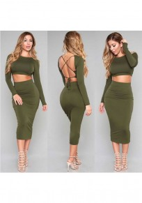 Army Green Plain 2-in-1 Cross Back Tie Back Midi Dress