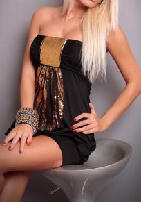 Black Patchwork Bandeau Sequin Sleeveless Mini Dress