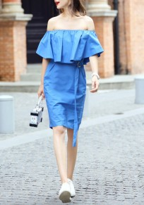 Blue Plain Bandeau Boat Neck Sashes Ruffle Off-shoulder Casual Midi Dress